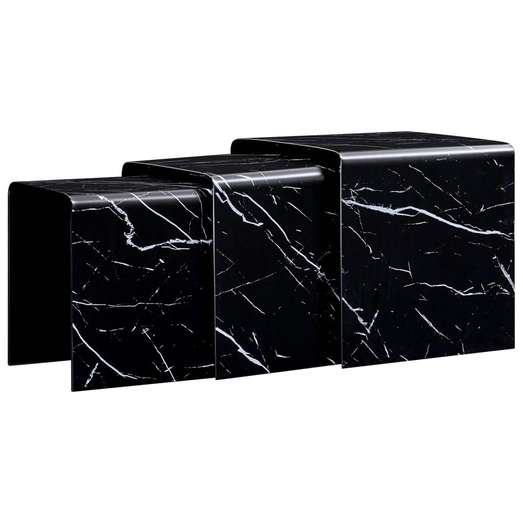 vidaXL Mese cafea suprapuse 3 buc. negru marmură 42x42x41,5 cm sticlă