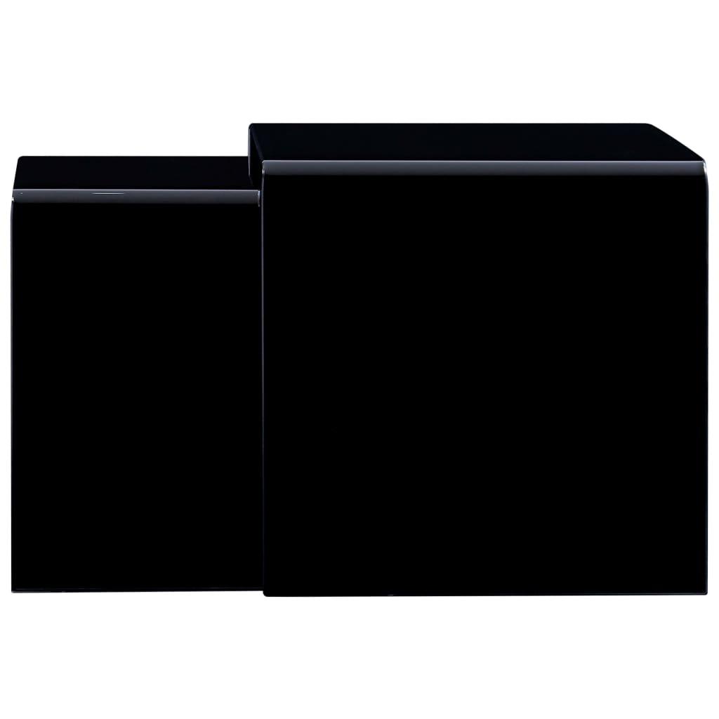 Mese cafea suprapuse, 2 buc., negru, 42 x 42 x 41,5 cm, sticlă