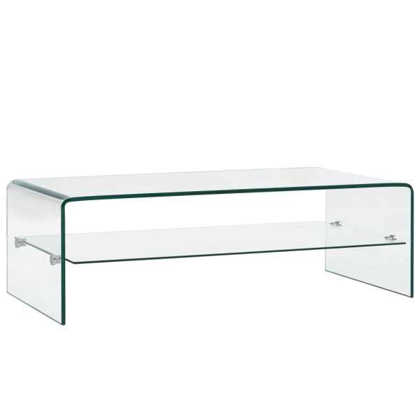 vidaXL Măsuță de cafea, transparentă, 98x45x31 cm, sticlă securizată