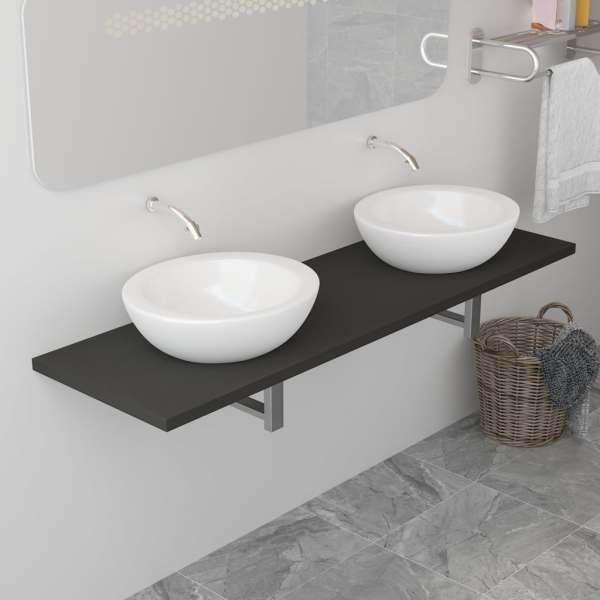 vidaXL Mobilier de baie, gri, 160 x 40 x 16,3 cm