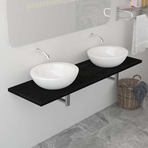 vidaXL Mobilier de baie, negru, 160 x 40 x 16,3 cm