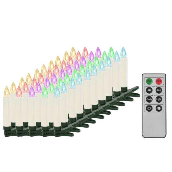 Lumânări Crăciun LED wireless cu telecomandă 50 buc. RGB