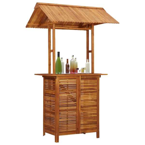 vidaXL Masă de bar exterior cu acoperiș, 122x106x217 cm, lemn acacia