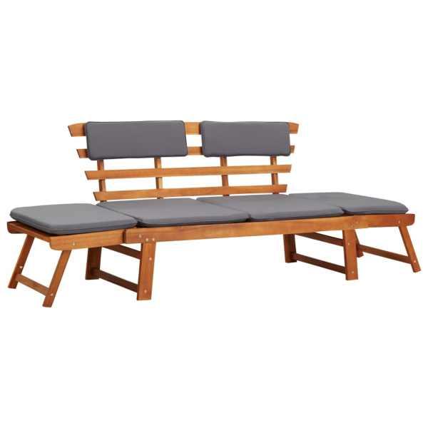 vidaXL Bancă de grădină cu perne 2-în-1, 190 cm, lemn masiv de acacia
