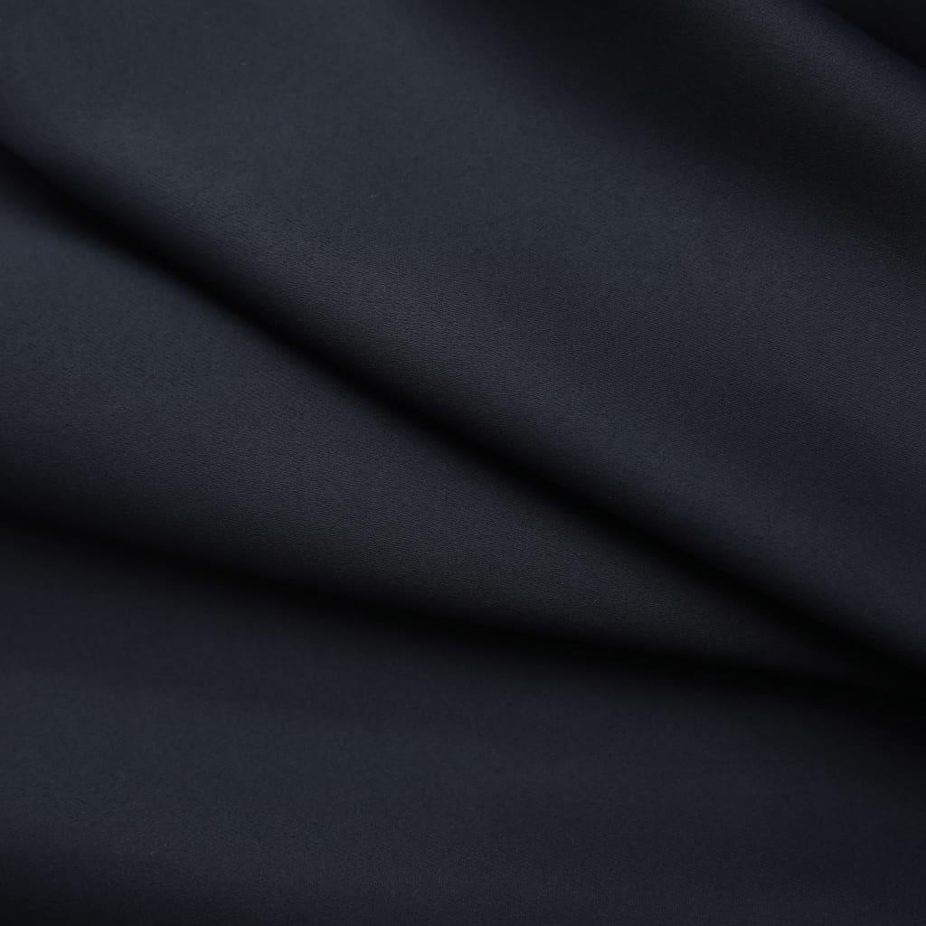 vidaXL Draperii opace cu cârlige, 2 buc., negru, 140 x 225 cm