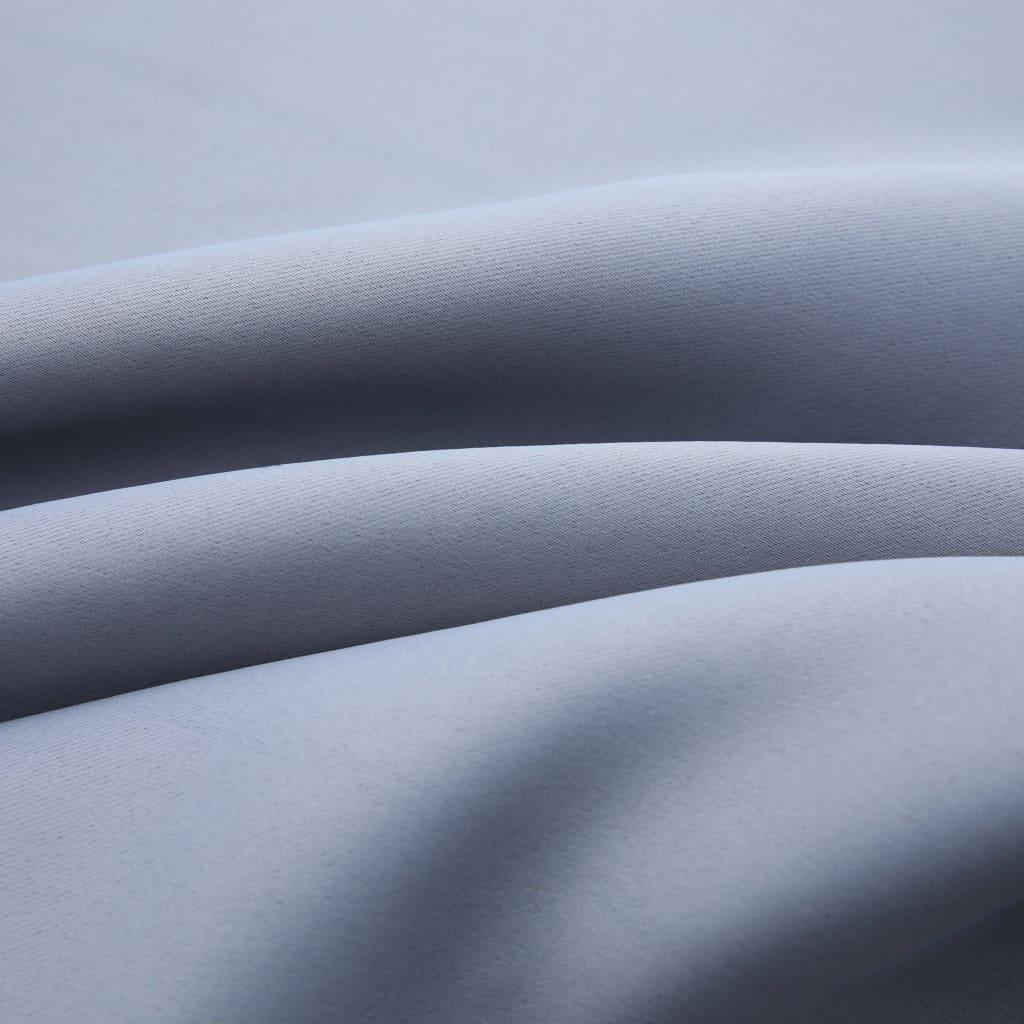 vidaXL Draperii opace cu inele metalice, 2 buc., gri, 140 x 175 cm
