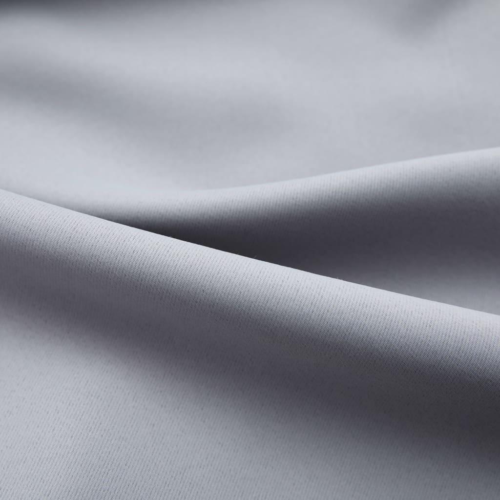 vidaXL Draperie opacă, gri, 290 x 245 cm, cu cârlige