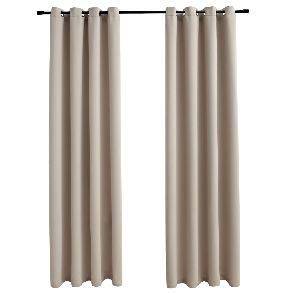 Draperii opace cu inele metalice, 2 buc., bej, 140 x 245 cm