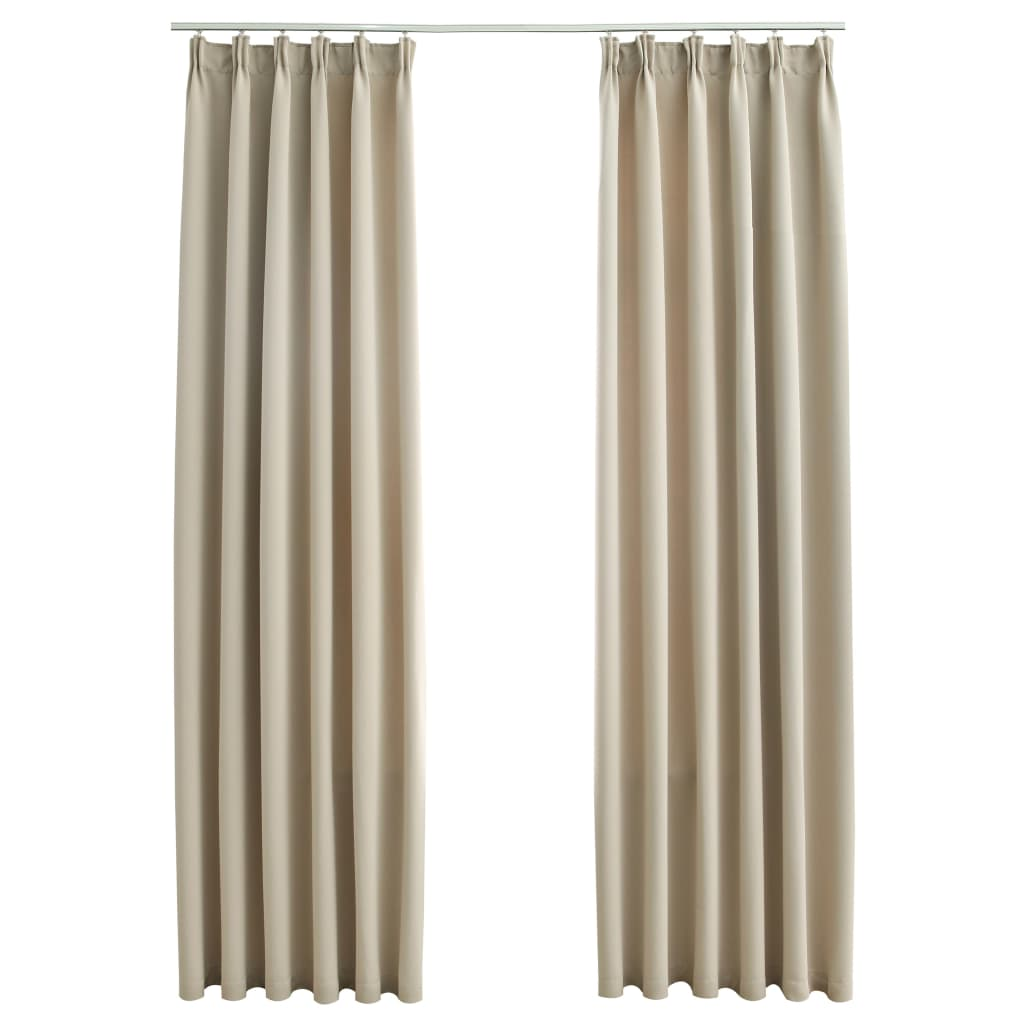 vidaXL Draperii opace cu cârlige, 2 buc., bej, 140 x 175 cm