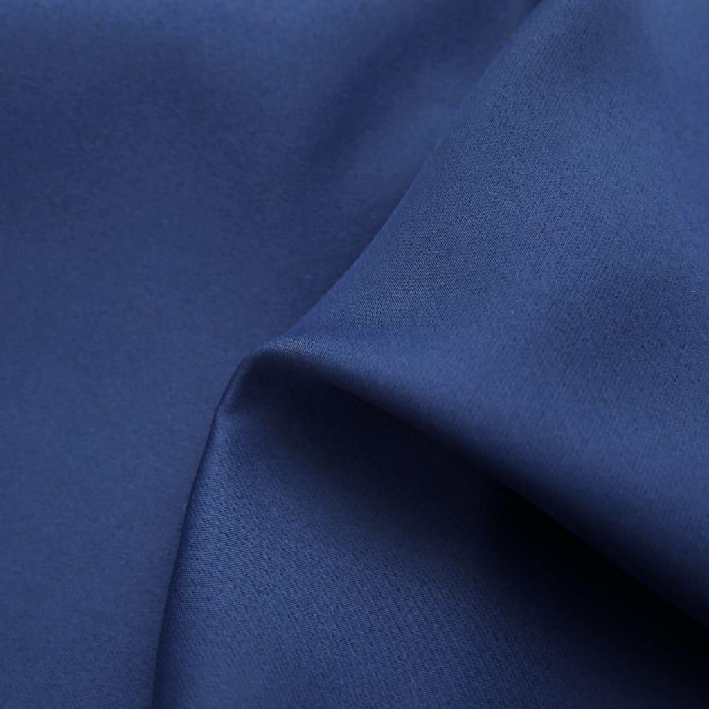 Draperii opace cu inele metalice, 2 buc, albastru, 140 x 245 cm