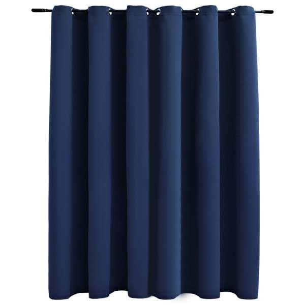 vidaXL Draperie opacă cu inele metalice, albastru, 290 x 245 cm