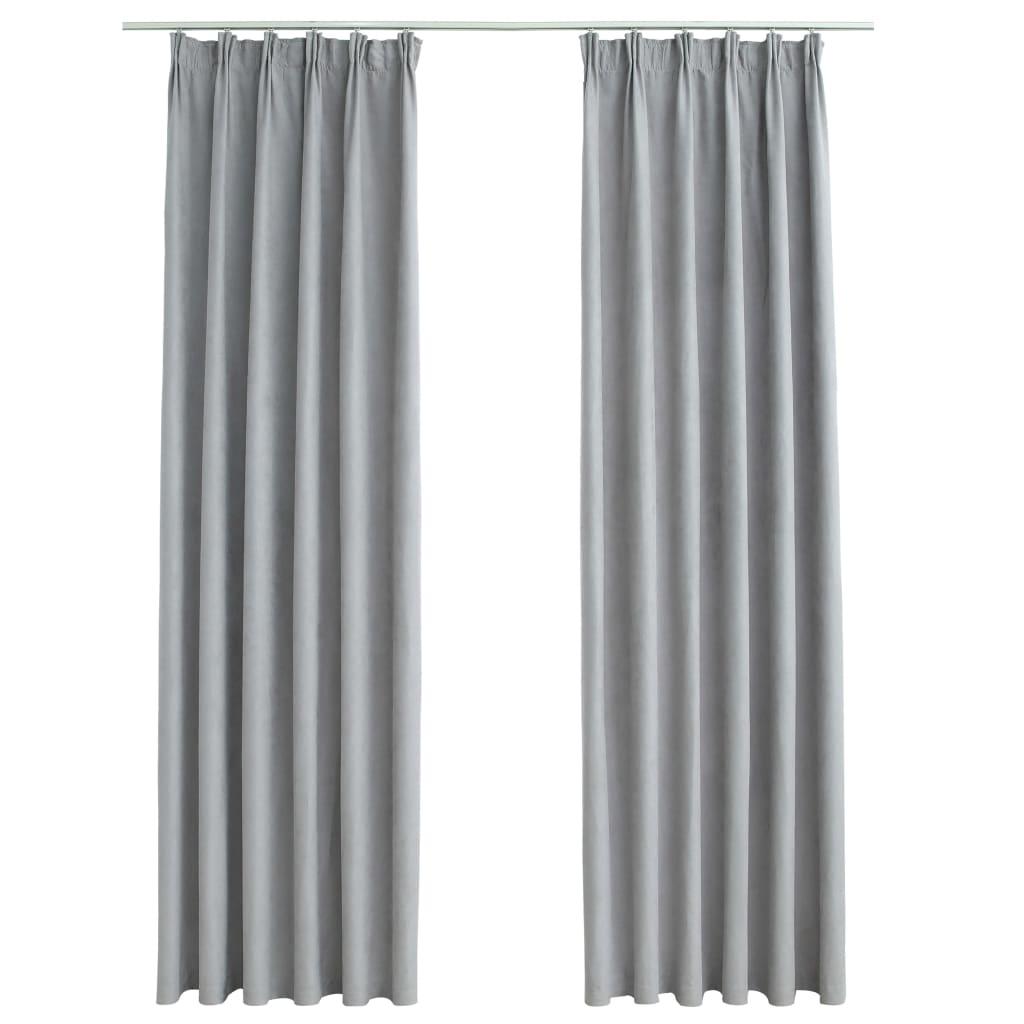 Draperii opace cu cârlige, 2 buc., gri, 140 x 245 cm
