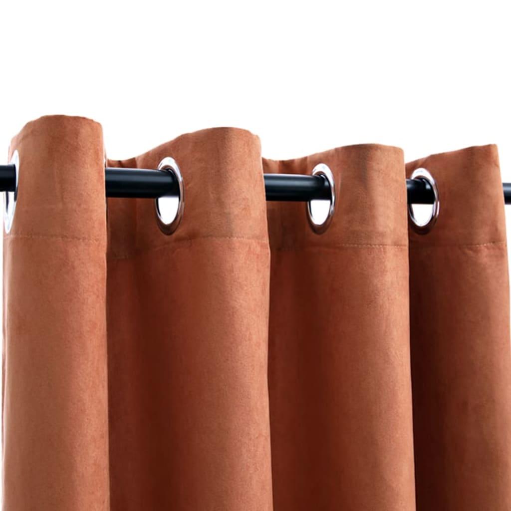 Draperii opace cu inele metalice, 2 buc., ruginiu, 140×225 cm