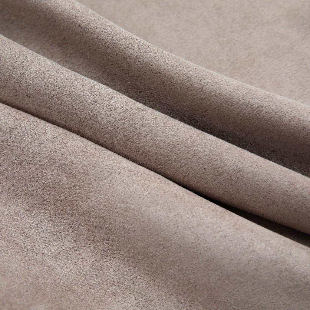 Draperii opace cu inele metalice, 2 buc., gri taupe, 140×175 cm