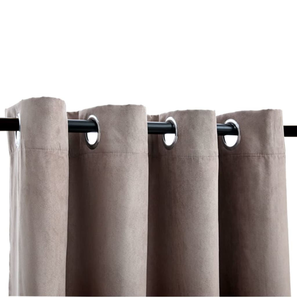 vidaXL Draperii opace cu inele metalice, 2 buc., gri taupe, 140×225 cm
