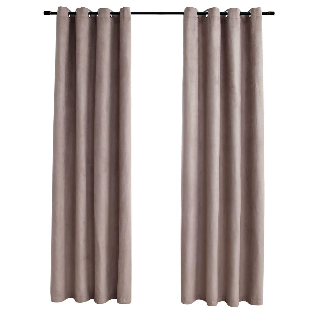 Draperii opace cu inele metalice, 2 buc., gri taupe, 140×245 cm