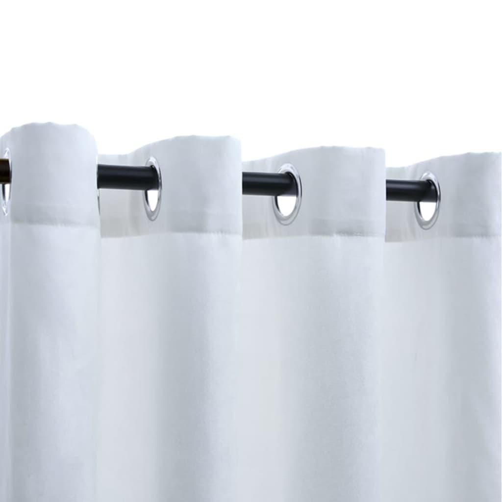 Draperii opace cu inele metalice 2 buc. alb-ivoriu 140×225 cm