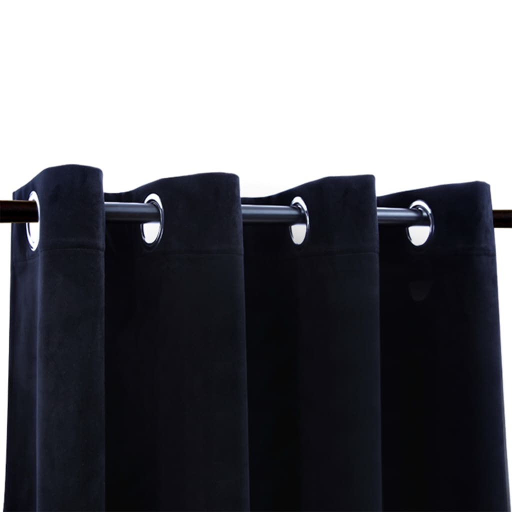 Draperie opacă cu inele metalice, negru, 290 x 245 cm, catifea