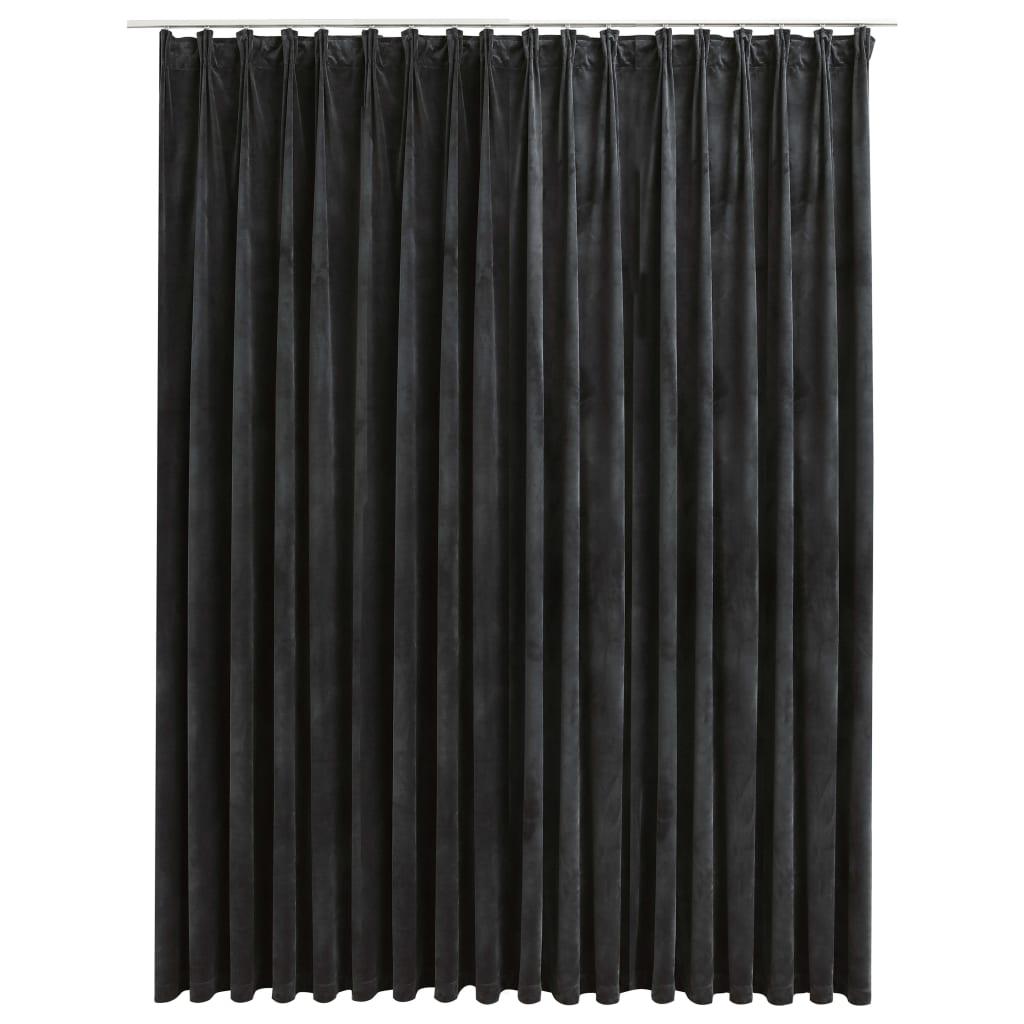 Draperie opacă, antracit, 290 x 245 cm, catifea, cu cârlige