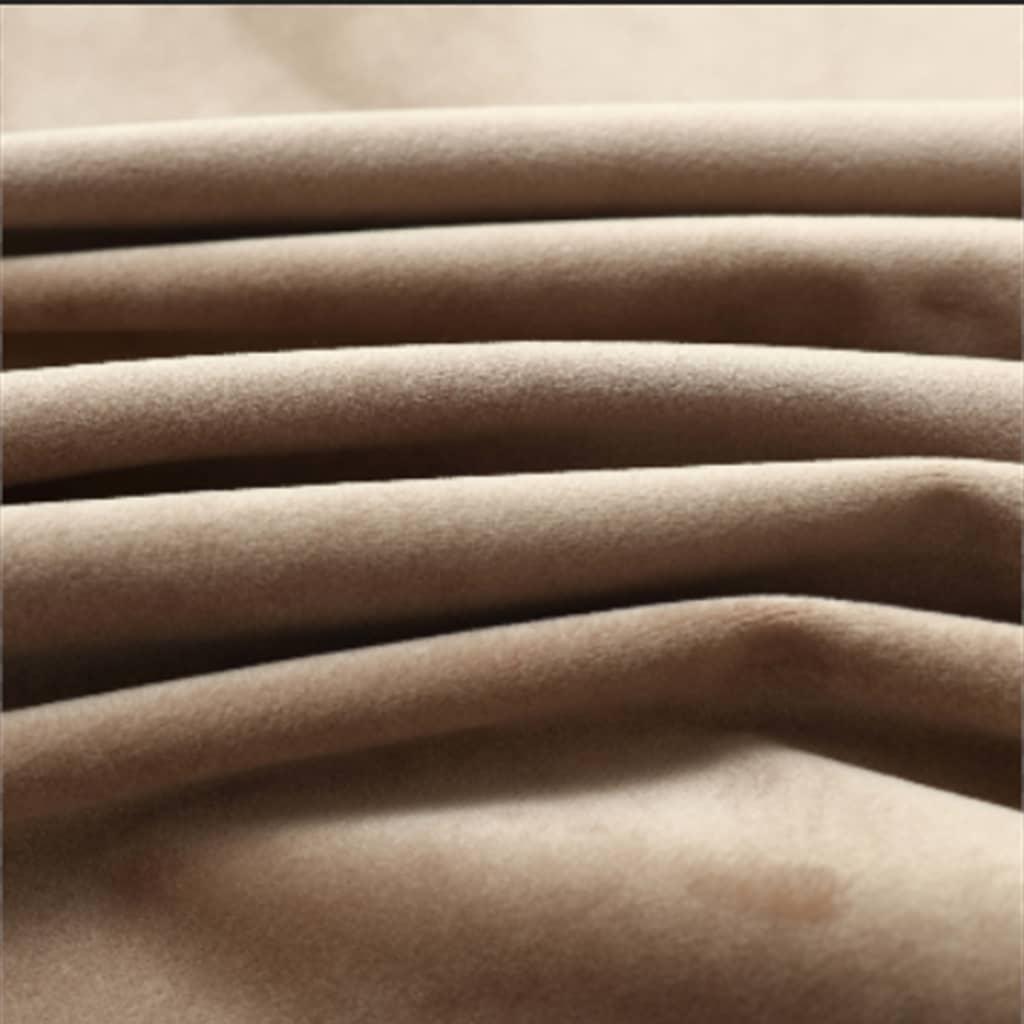 Draperii opace cu inele, 2 buc., bej, 140 x 225 cm, catifea