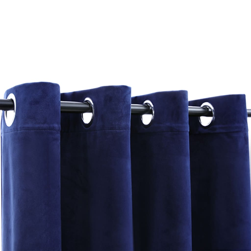 Draperii opace cu inele, 2 buc., albastru, 140×245 cm, catifea