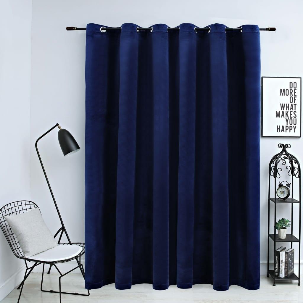vidaXL Draperie opacă albastru închis 290x245cm catifea inele metalice