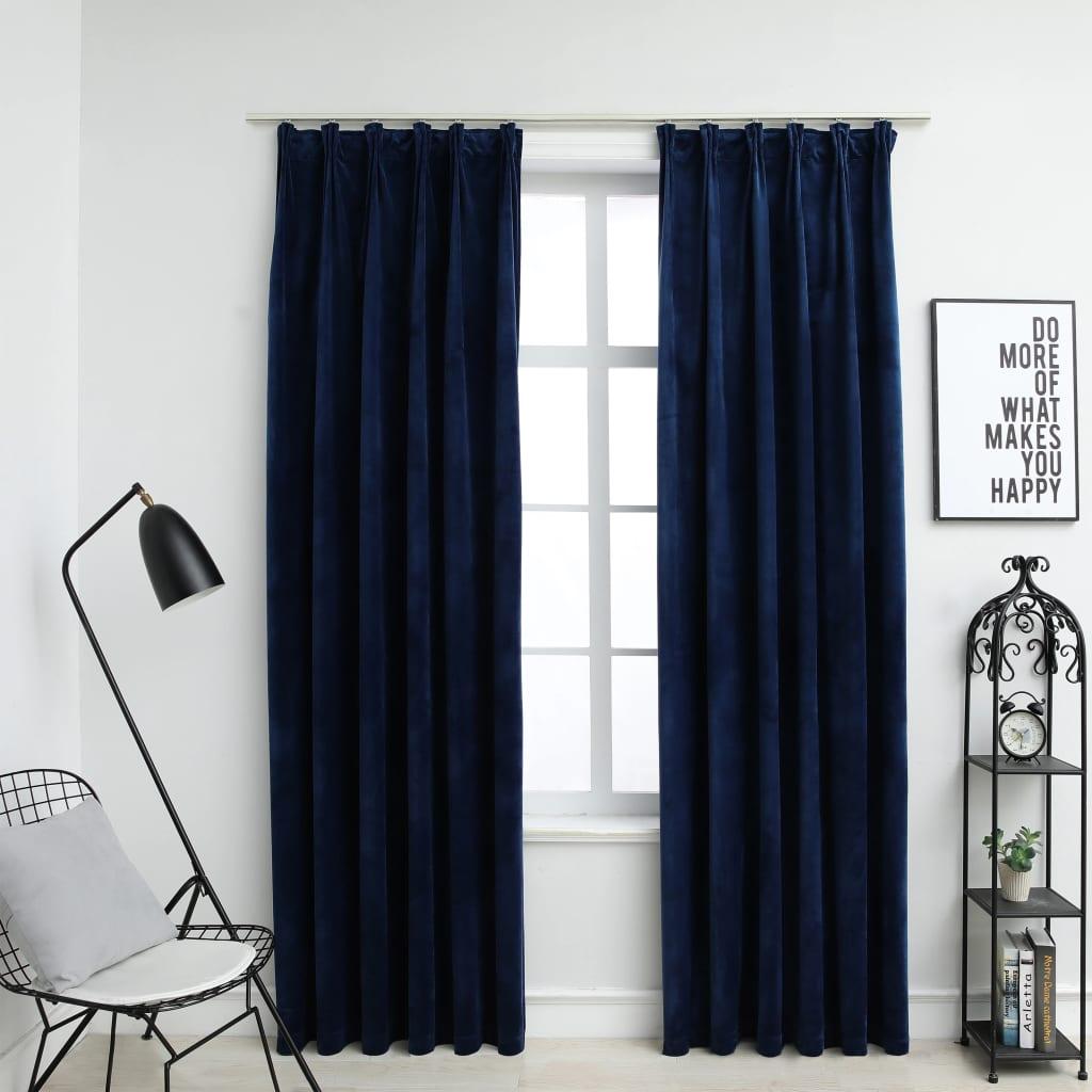 vidaXL Draperii opace cu cârlige, 2 buc, albastru, 140×175 cm, catifea