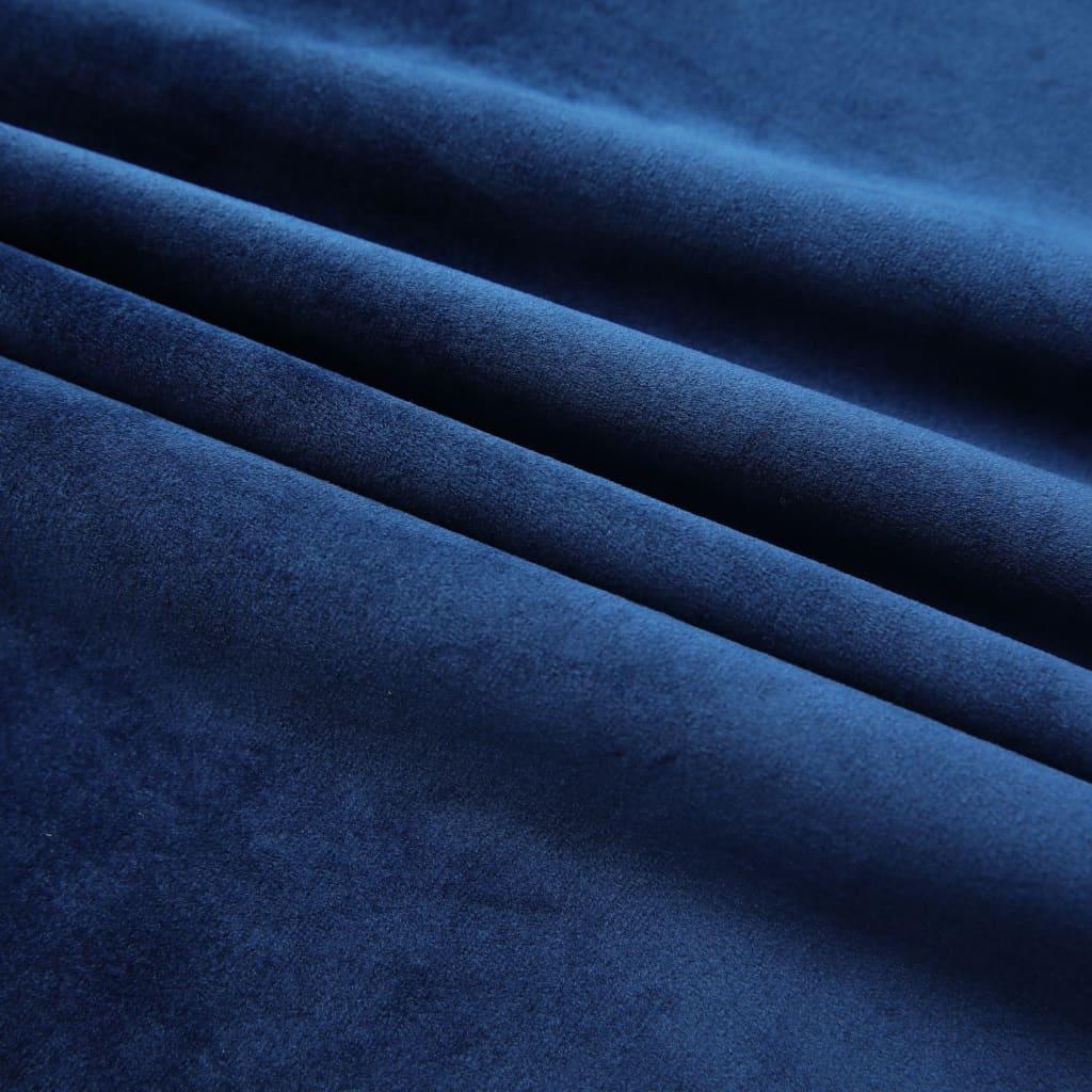 vidaXL Draperii opace 2 buc. albastru închis 140x245cm catifea cârlige