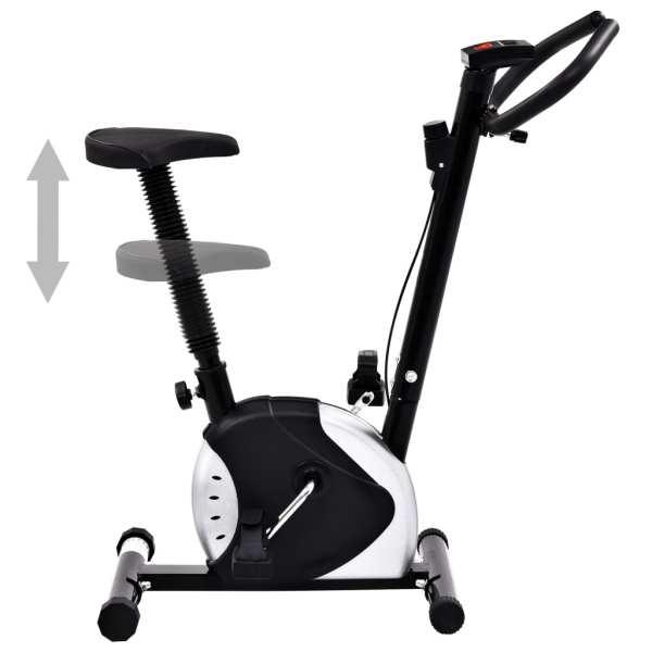 vidaXL Bicicletă de fitness cu curea de rezistență, negru