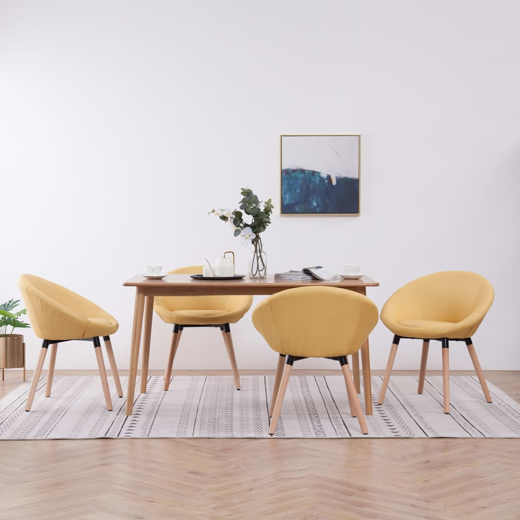 vidaXL Scaune de sufragerie, 4 buc., galben, material textil