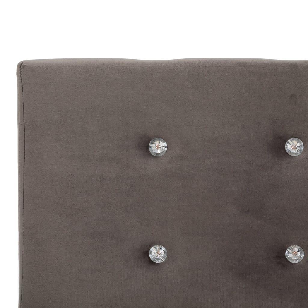 Pat cu saltea, spumă cu memorie, gri, 180 x 200 cm, catifea