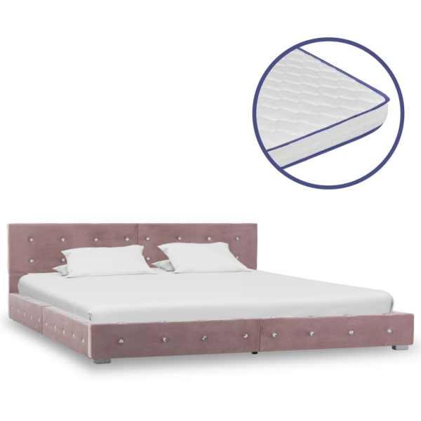 vidaXL Pat cu saltea, spumă cu memorie, roz, 160 x 200 cm, catifea