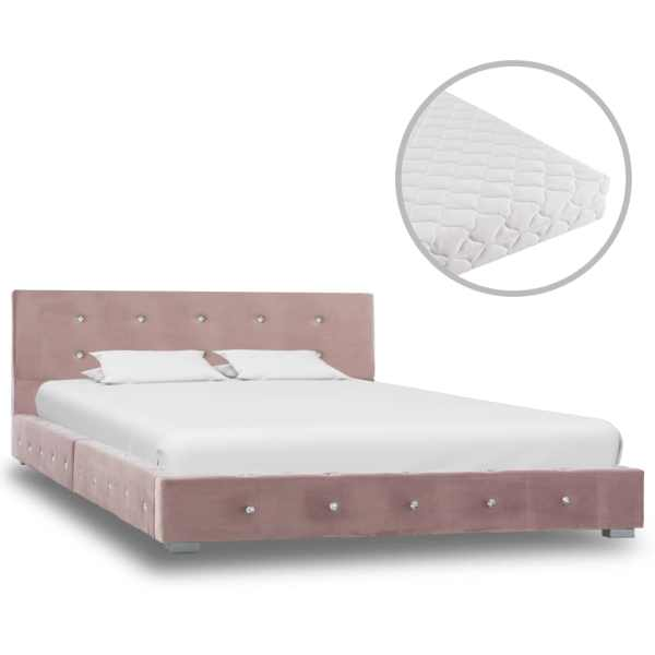 vidaXL Pat cu saltea, roz, 120×200 cm, catifea