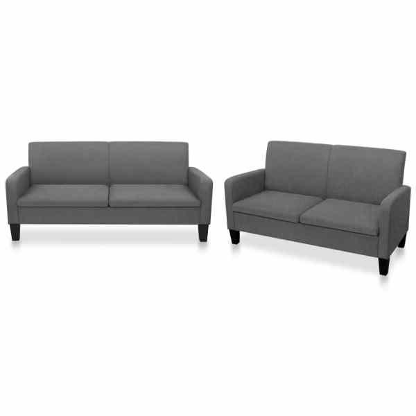 vidaXL Set canapea, 2 piese, gri închis, material textil