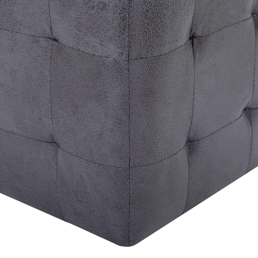 Taburet, 2 buc., gri, 30x30x30 cm, piele întoarsă ecologică