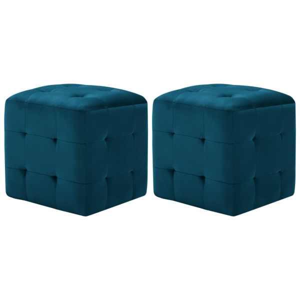 vidaXL Taburet, 2 buc., albastru, 30 x 30 x 30 cm, țesătură catifea