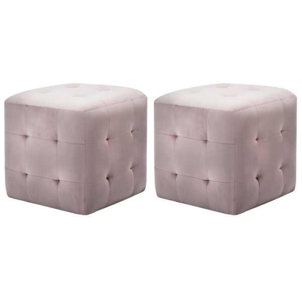 vidaXL Taburet, 2 buc., roz, 30 x 30 x 30 cm, țesătură din catifea