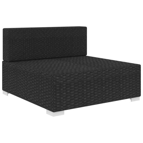 Scaun modular de mijloc, 1 buc., negru, poliratan, cu perne