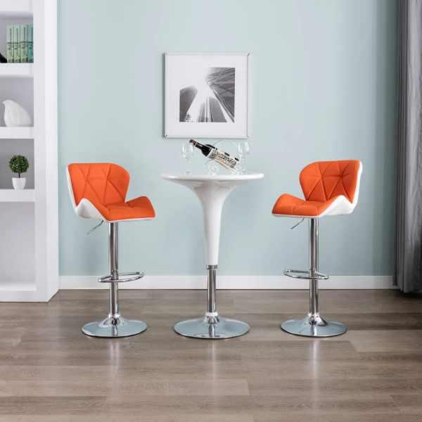 vidaXL Scaune de bar, 2 buc., portocaliu, piele ecologică