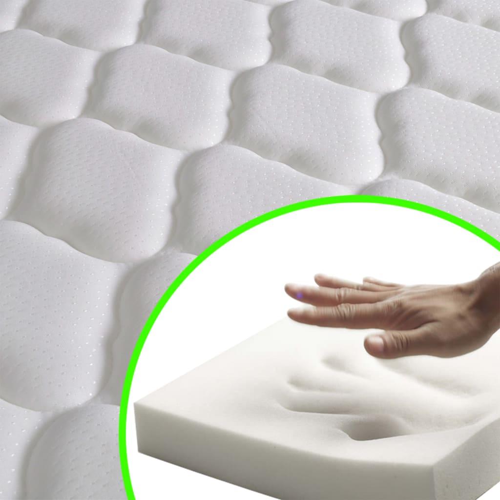 vidaXL Pat LED saltea spumă memorie gri închis, 160×200 cm, pânză sac