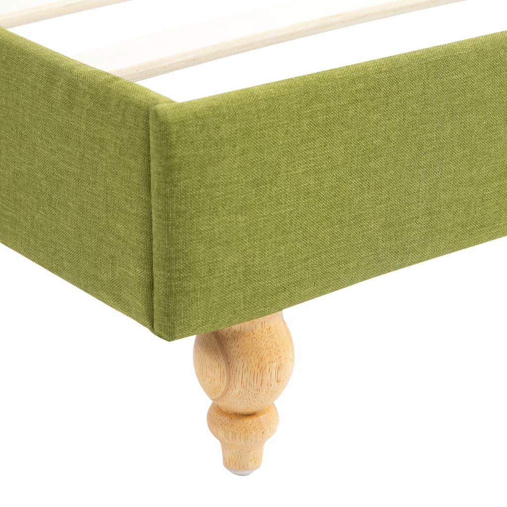 Pat cu LED și saltea spumă memorie, verde, 160 x 200 cm, textil