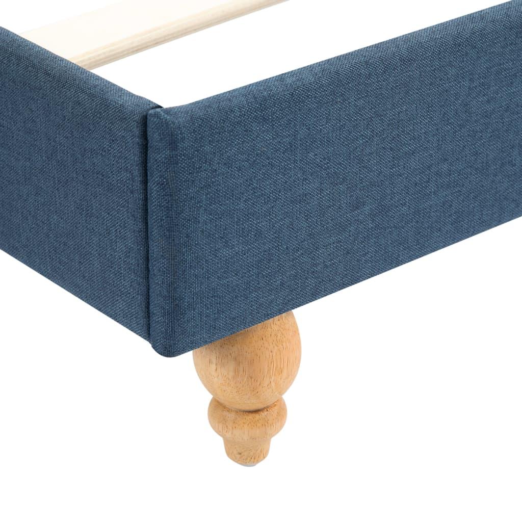 Pat cu LED și saltea, albastru, 140 x 200 cm, material textil