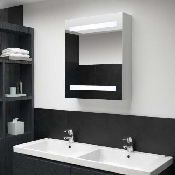 vidaXL Dulap de baie cu oglindă și LED-uri, 50 x 14 x 60 cm