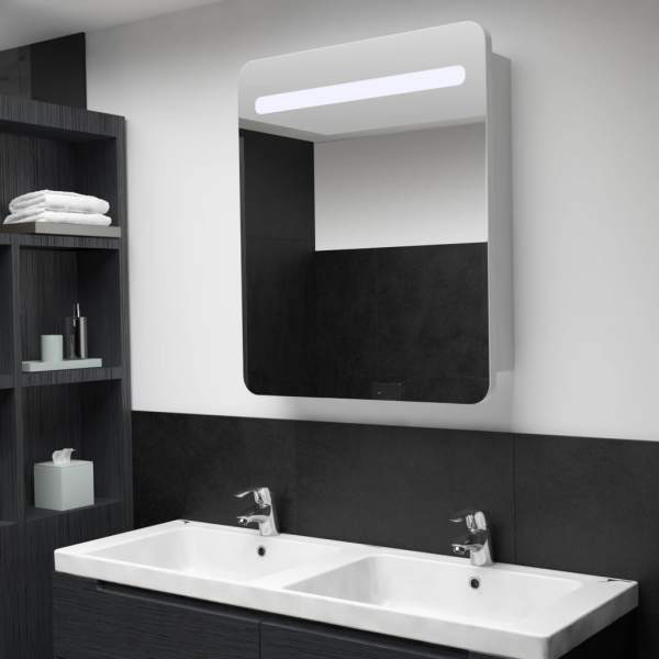 vidaXL Dulap de baie cu oglindă și LED-uri, 68 x 9 x 80 cm