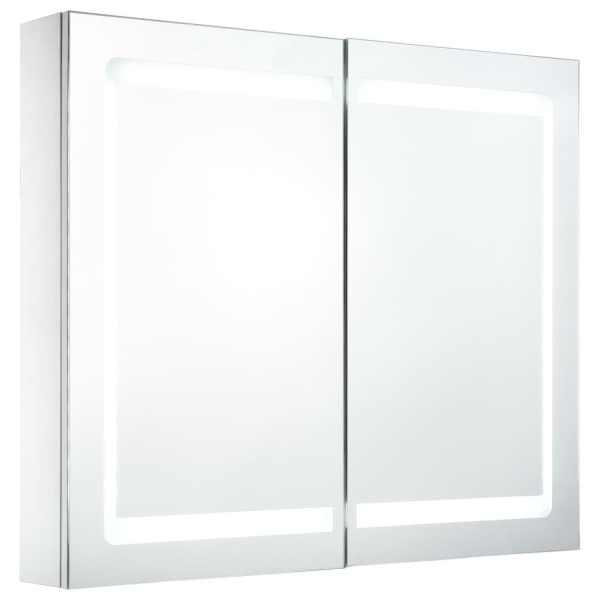 Dulap de baie cu oglindă și LED, 80 x 12,2 x 68 cm