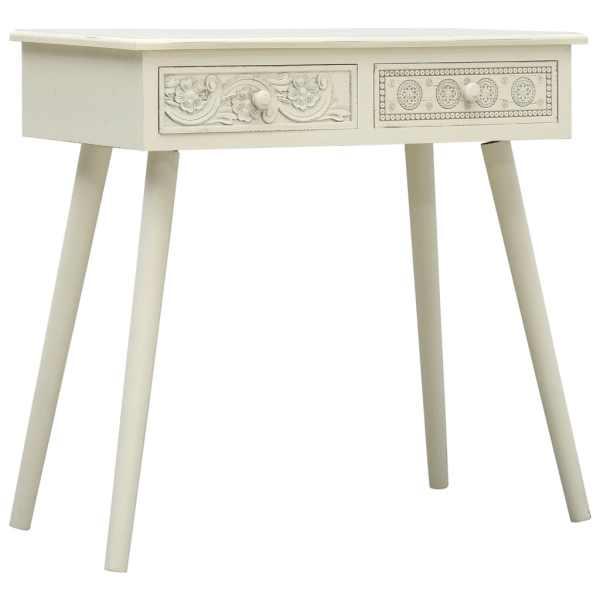 vidaXL Masă consolă cu 2 sertare sculptate, gri, 80x40x77,8 cm, lemn