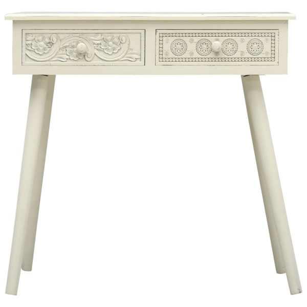 Masă consolă cu 2 sertare sculptate, gri, 80x40x77,8 cm, lemn