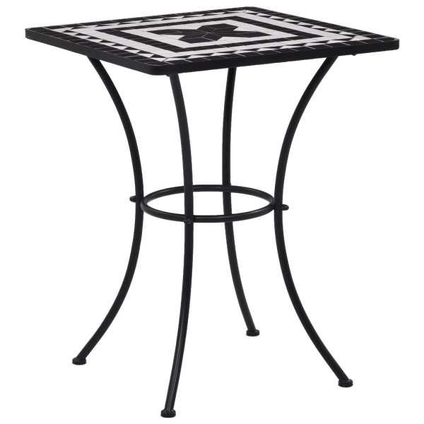 vidaXL Masă de bistro mozaic, negru și alb, 60 cm, ceramică