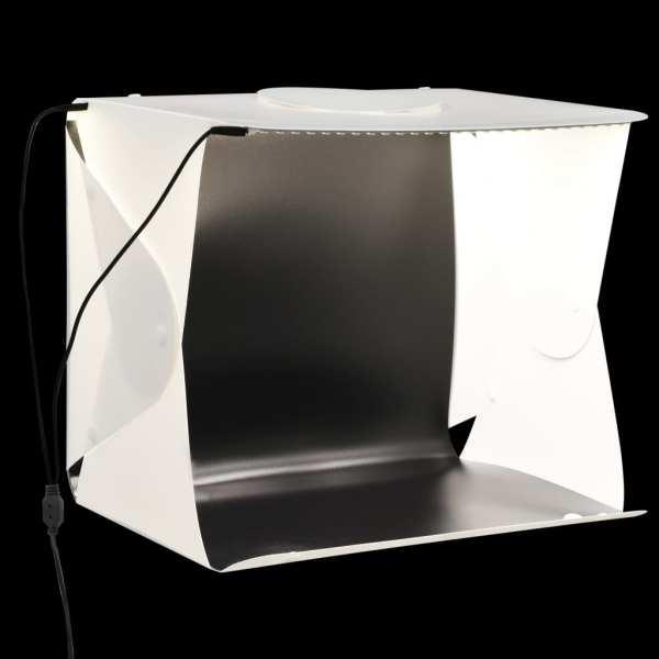 vidaXL Cort foto cu LED-uri pliabil, alb, 40 x 34 x 37 cm, plastic