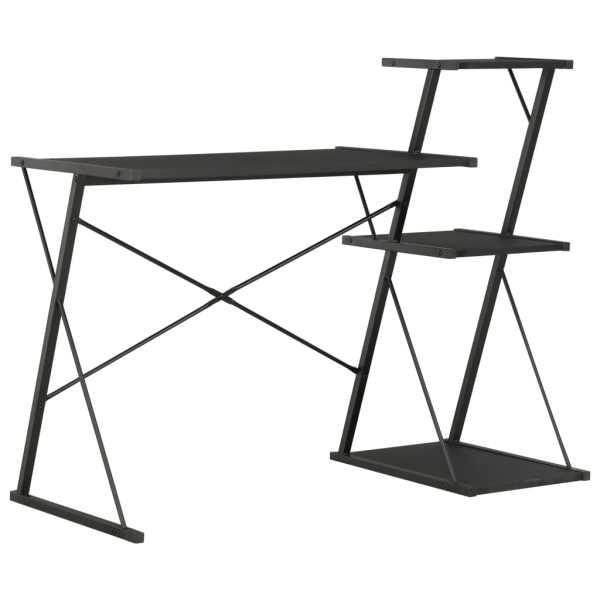 vidaXL Birou cu raft, negru, 116 x 50 x 93 cm